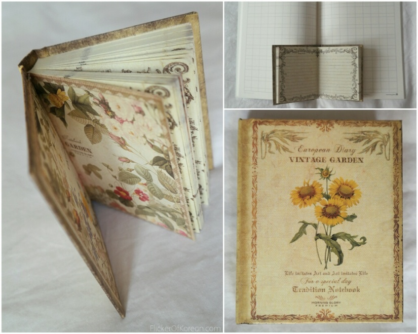 Korean mini notebook European diary vintage garden Morning Glory premium