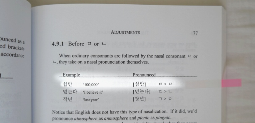 Korean pronunciation book example of nasalization adjustment