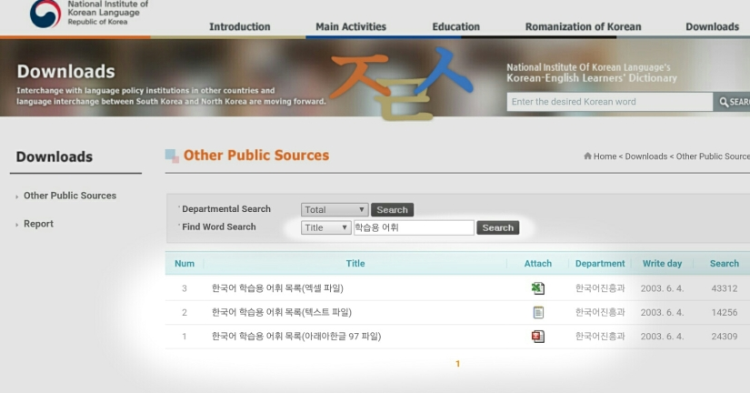 National Institute of Korean language downloads page Vocabulary list learning Korean