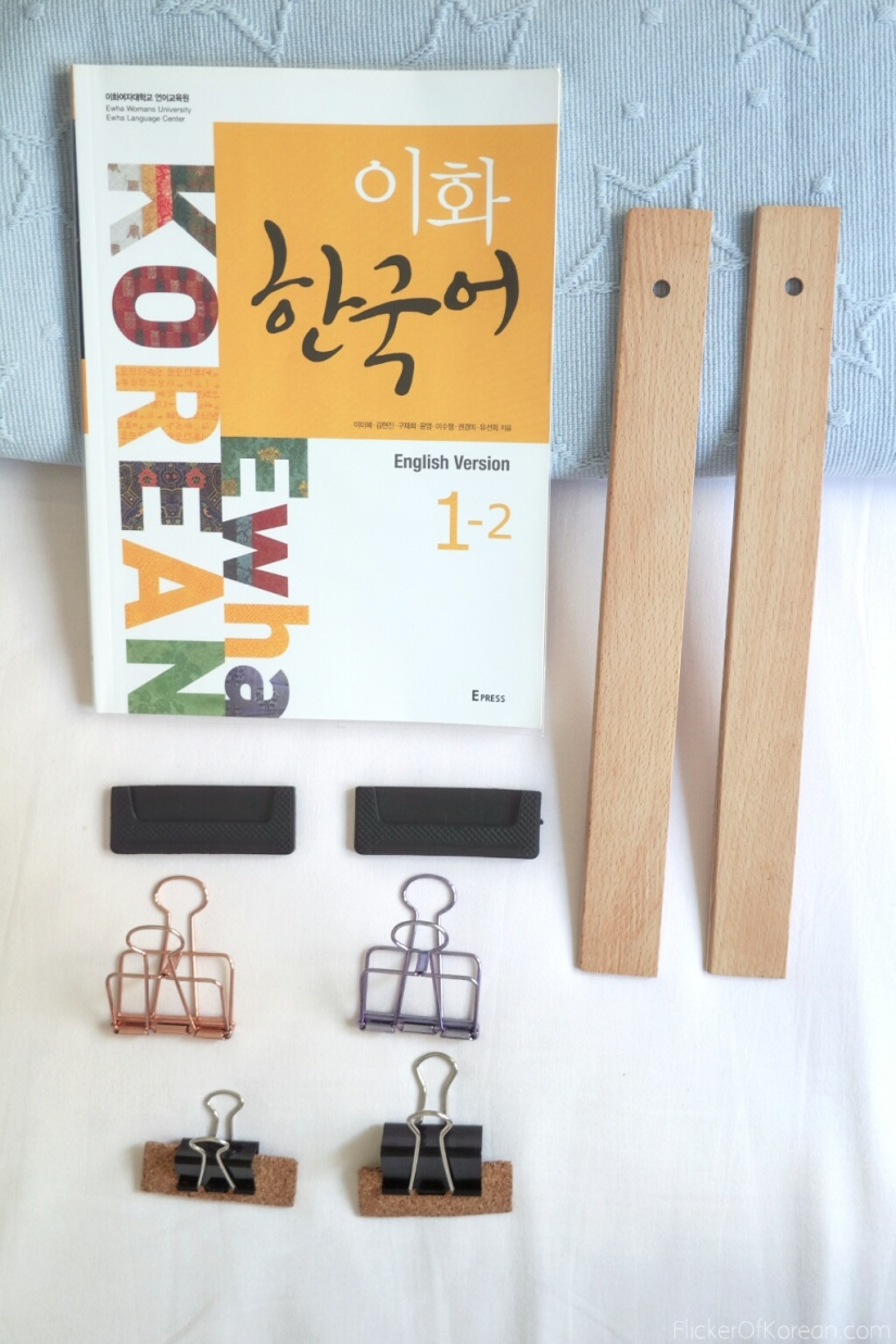 putting together a DIY book stand for reading in bed