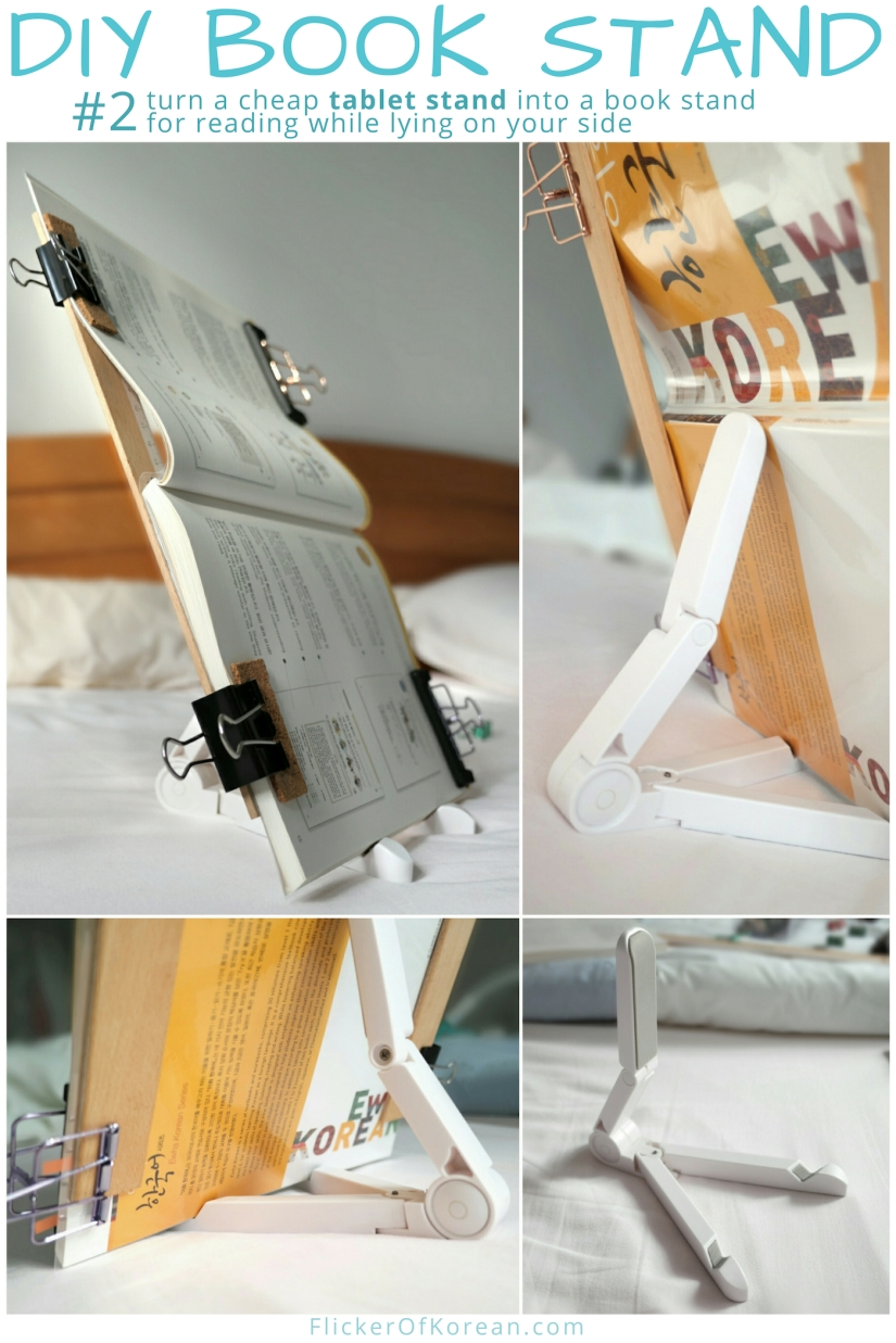 DIY Book stand using tablet stand for lying on your side in bed