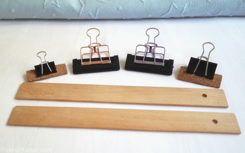 materials for handmade book stand rulers binder clips protectors