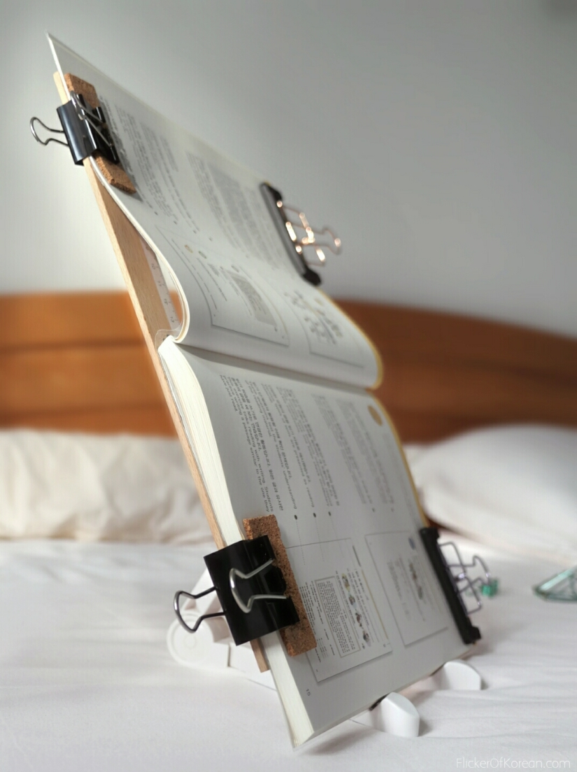 DIY textbook stand for bed. Great for disabled reading in bed lying on your side